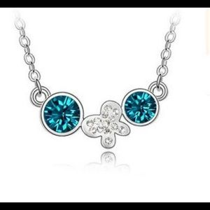 🆑 Stunning Blue & White Crystal Butterfly Chain
